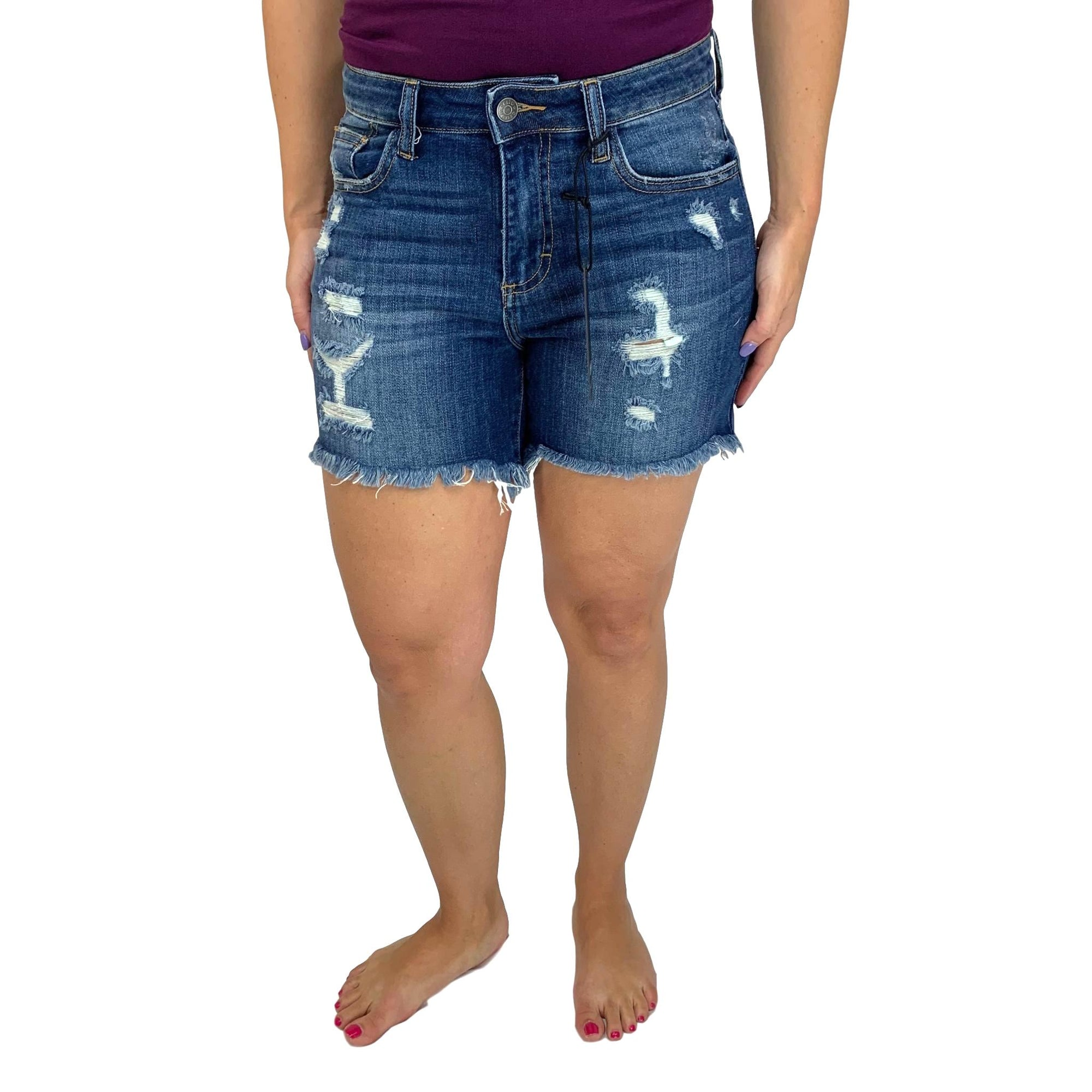 Cello Boyfriend Destroyed Jean Shorts with Uneven Fray Hem