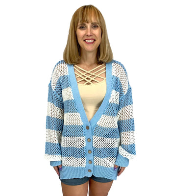 Striped Cardigan W/Contrast Band