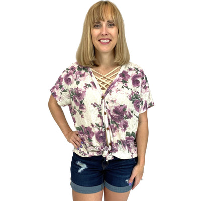 Dolman Sleeve Floral Knit Button Down Top