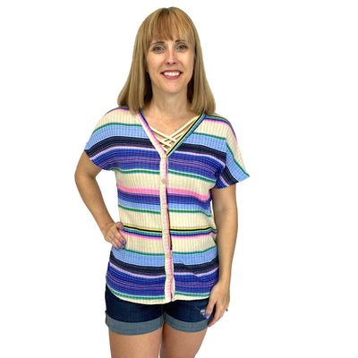 Front Knot Dolman Sleeve Striped Top with Buttons