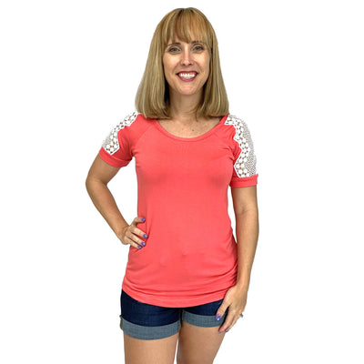 Solid Jersey Short Sleeve Crochet Patch Top
