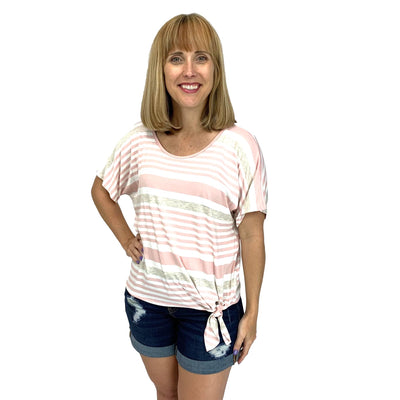 Striped Front Waist Tie Tunic