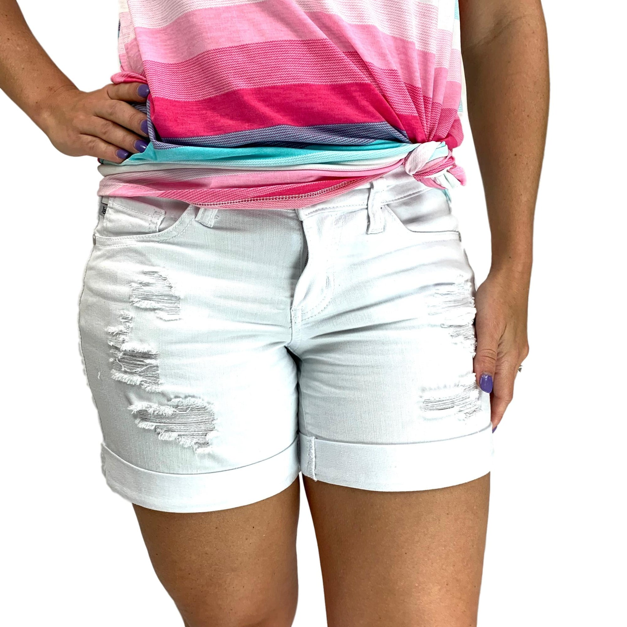 Judy Blue White Distressed Cuffed Jean Shorts