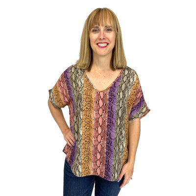 Snake Print Multi Color Top