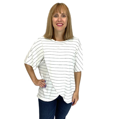 Striped Crossover Front Dolman Tunic