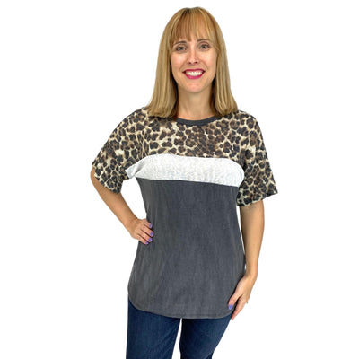 Short Sleeve Tunic Top with Leopard Contrast