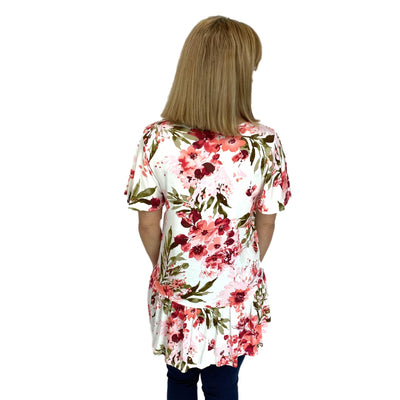 V-Neck Ruffle Sleeve Floral Top