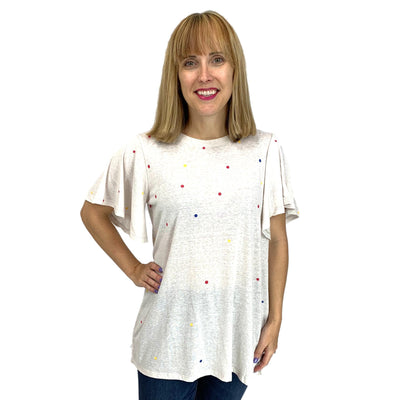 Multi Color Polka Dot Wing Sleeve Tunic Top