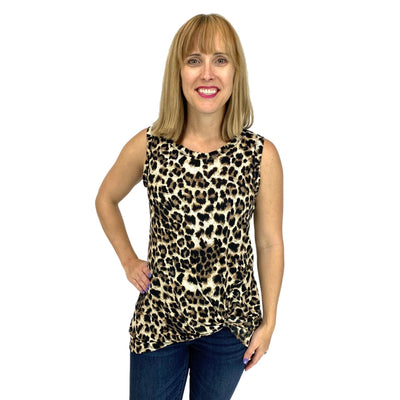Animal Printed Rayon Jersey Sleeveless Bottom Twist Detail