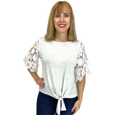 Round Neck Basic Top with Floral Lace Knit Sleeve
