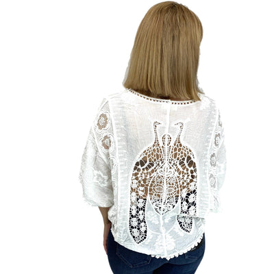 Crochet Lace Dolman Sleeve Top with Pompom Fringe