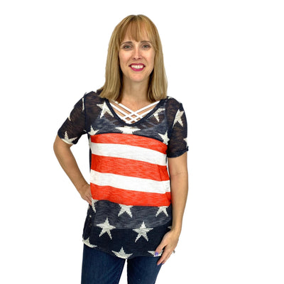 Stars and Stripes Hacci Top