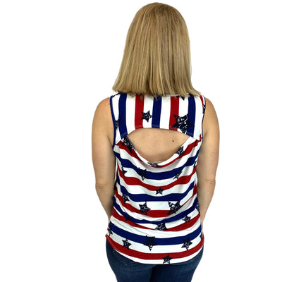Stars and Stripe Cut Out Back Top