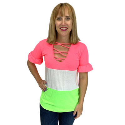 Jersey Knit V-Neck Color Blot Top with Caged Neck Detail