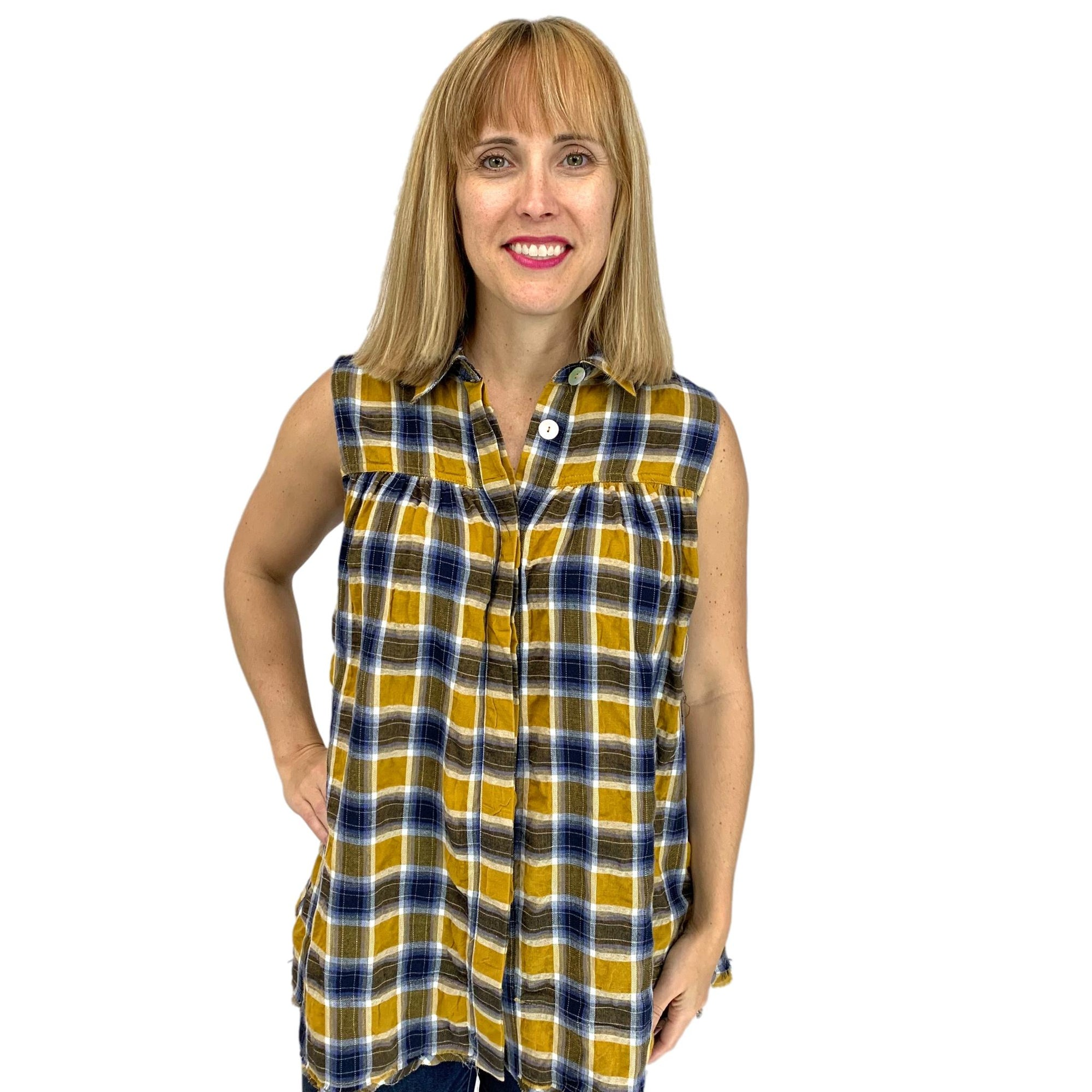 Sleeveless Plaid Button Down Tunic Shirt
