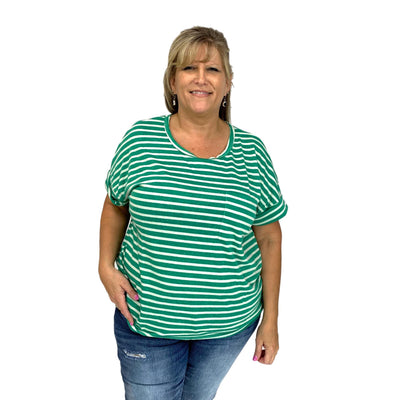 Basic Striped Top w/ Chest Pocket