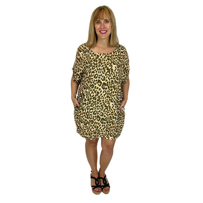 Short Sleeve Leopard Top Dress