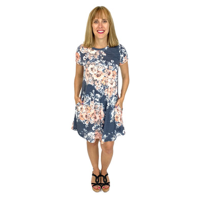 Short Sleeve A-Line Dress with Side Pockets