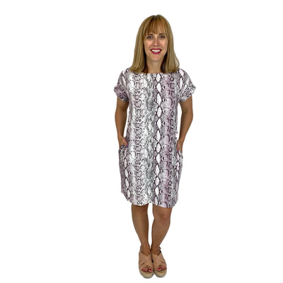 Dolman Sleeve Snake Print Dress with Pockets