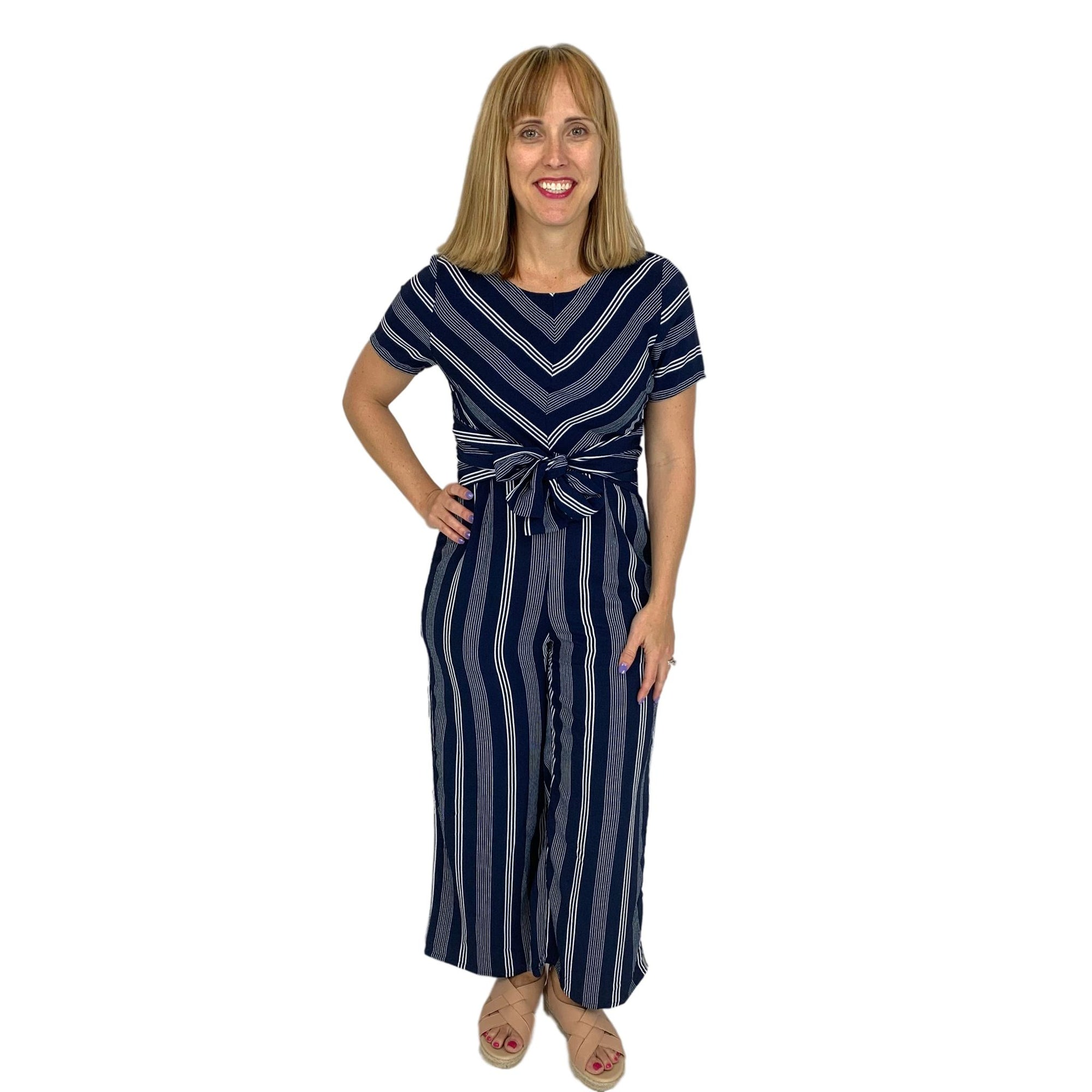 Stripe Jumpsuit with Front Tie