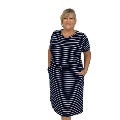 Striped Dress W/Pockets and Spaghetti Waist Ribbon