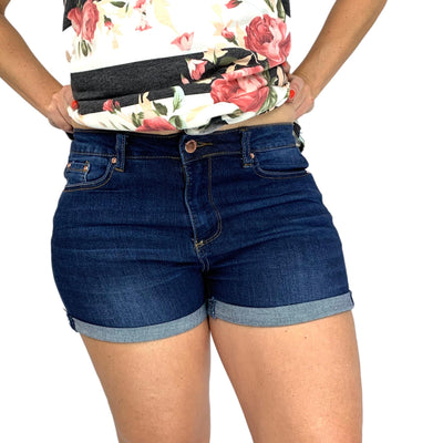 Encore High Rise Rolled and Cuffed Non Distressed Dark Jean Shorts