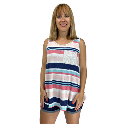 Multi Stripe and Solid Mix Print Pocket Tank