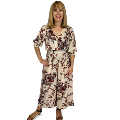 Floral Printed Woven Gauze Jumpsuit