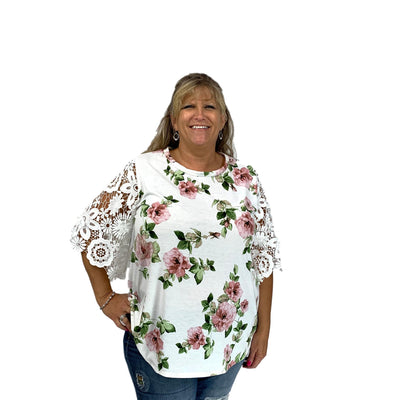 Lace Sleeve Floral Round Neck Top