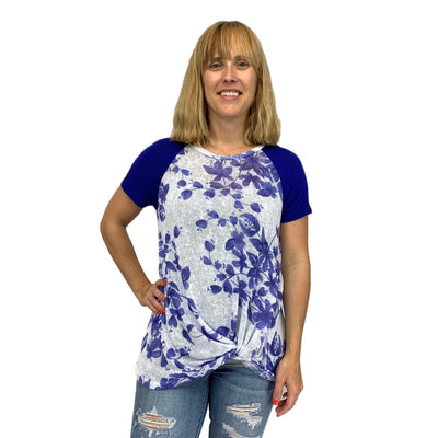Gather Front Floral Knit Top
