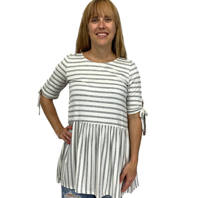 Striped Short Sleeve Tunic Knotted with Keyhole Back
