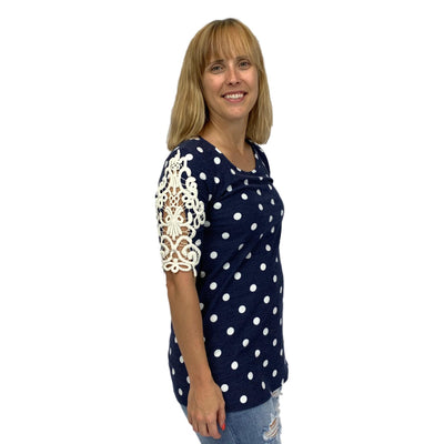 Crochet Lace Sleeve Polka Dot Top