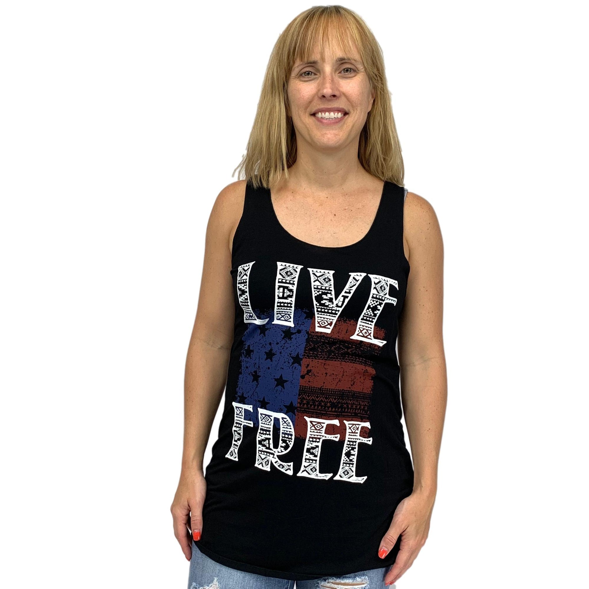 Live Free Racerback Graphic Tank