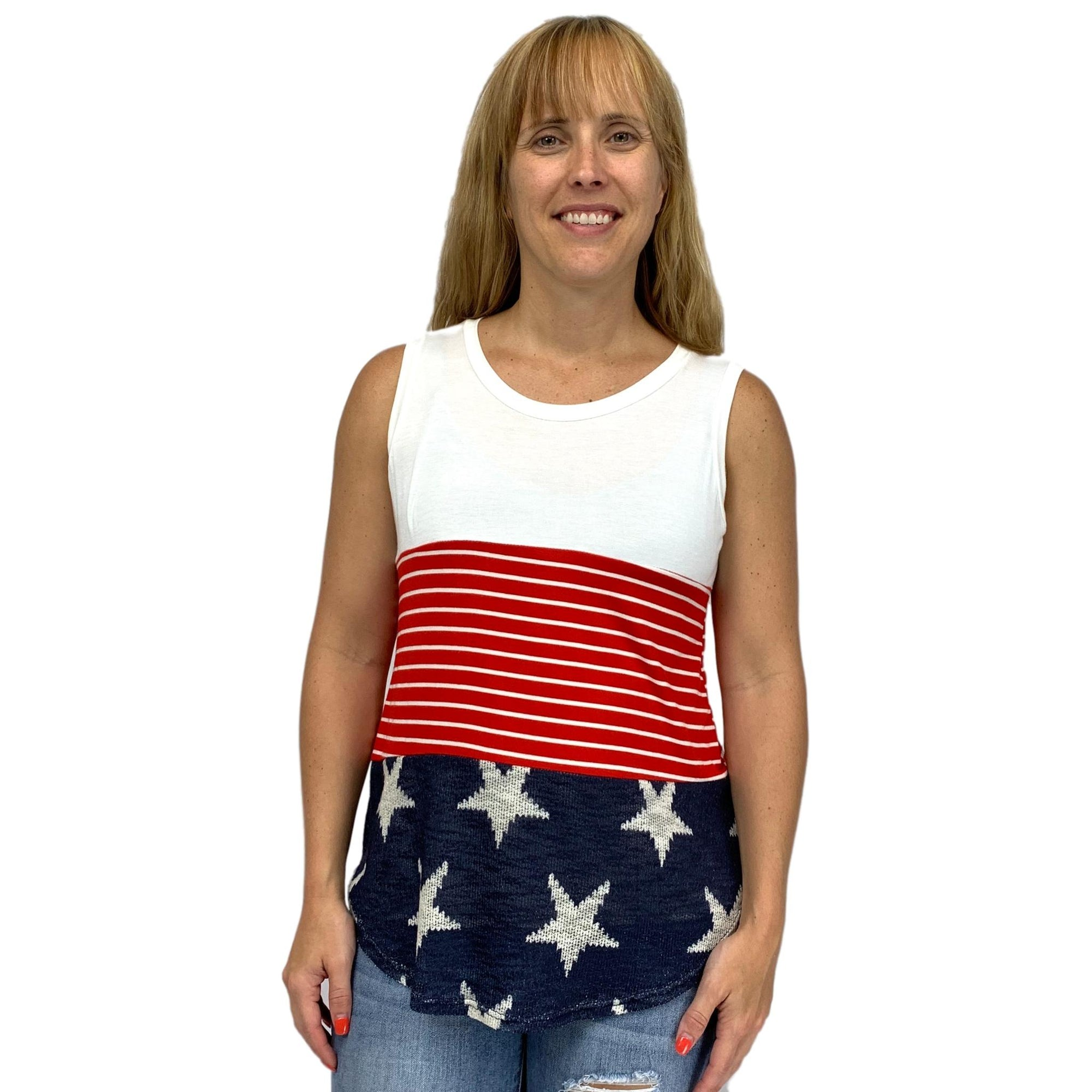 4TH of July Color Block Tank Top
