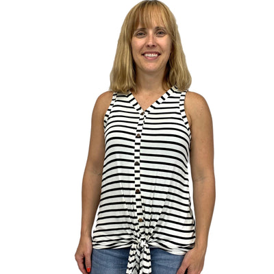 Sleeveless Button Down Stripe Tunie Top with Front Tie Detail