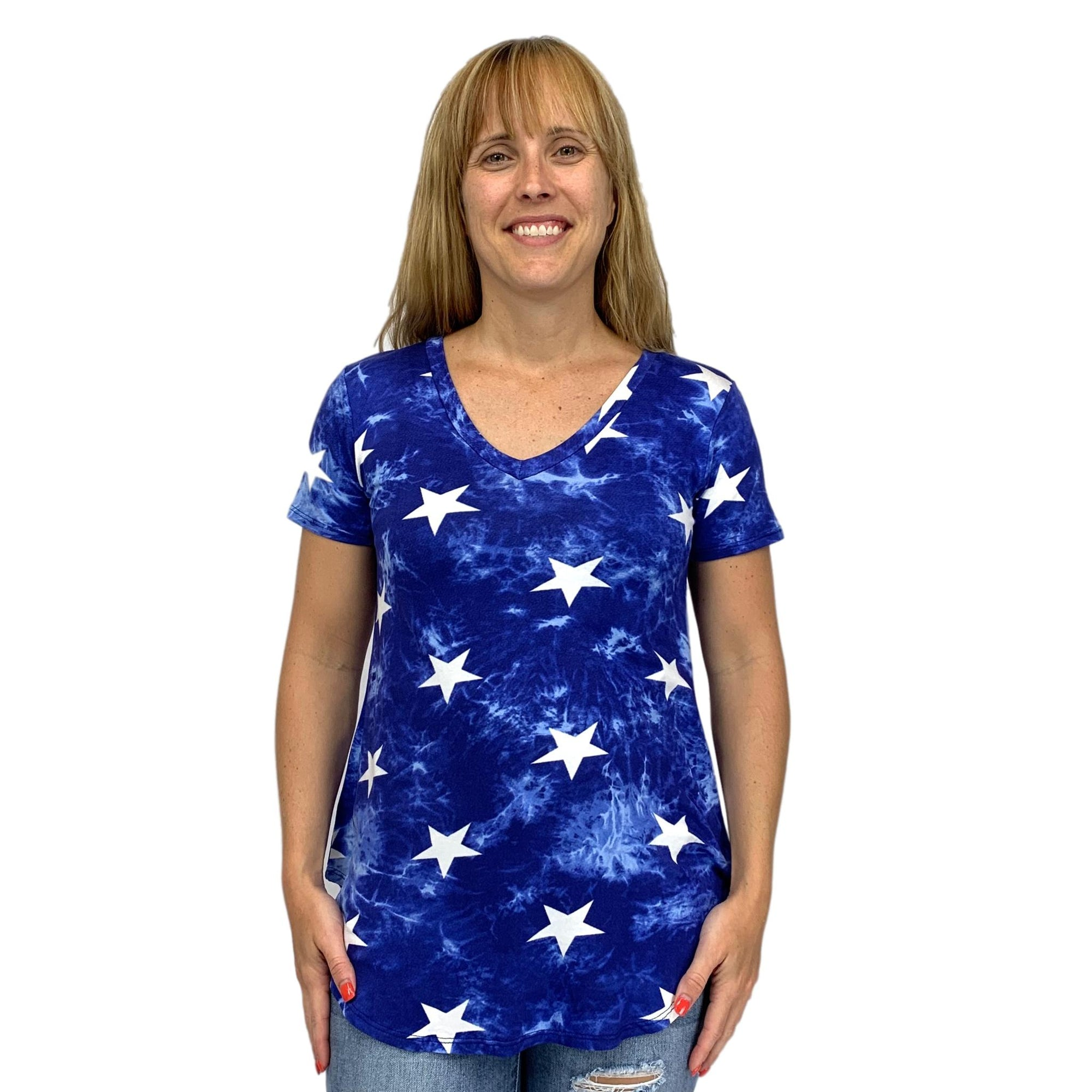 Tie Dye and Star Print Top