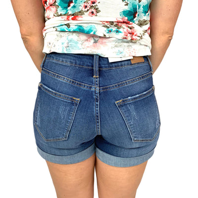 Judy Blue Medium Wash Boyfriend Cuffed Jean Shorts