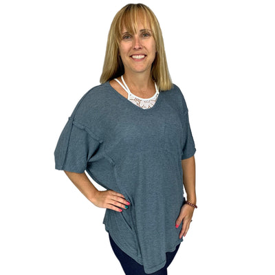 Super Soft Boxy Rib Knit V-Neck Tunic Top