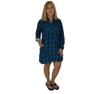 Plaid Button Up Collared Dress
