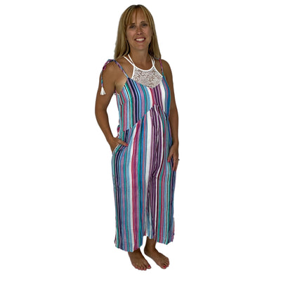 Summer Rainbow Wide Leg Cropped Jumpsuit