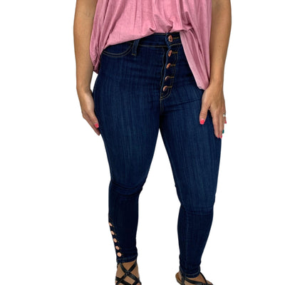 5 Button Waist Jeans with Button Hems