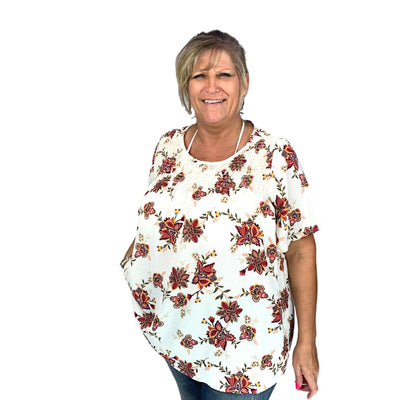 Floral Woven Blouse with Smocked Front Yoke