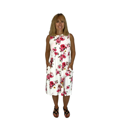 Floral Knee Length Dress with Pockets