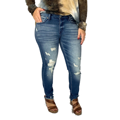 Kan Can Distressed Skinny Jeans with Destroyed Hem