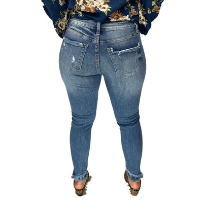 Kan Can Destroyed Double Hem Crop Skinny Jeans