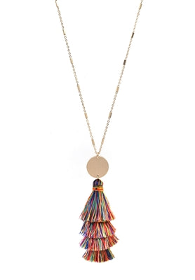 Gold Necklace with Fabric Tassel and Gold Accent