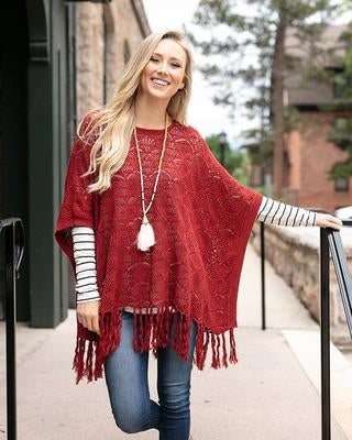 Pointelle Knit Poncho