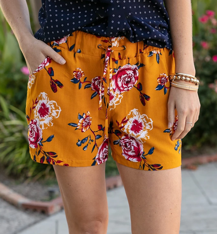 Grace and Lace Summer Floral Shorts - Goldenrod Floral