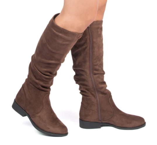 Zion Light Brown Stretch Suede Knee High Boots