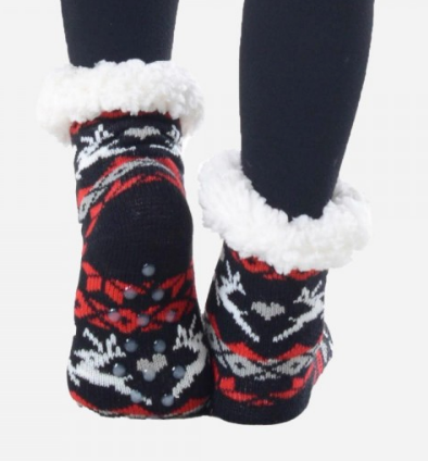 Copy of Kids Reindeer Faire Isle Fuzzy Sherpa Slipper Socks